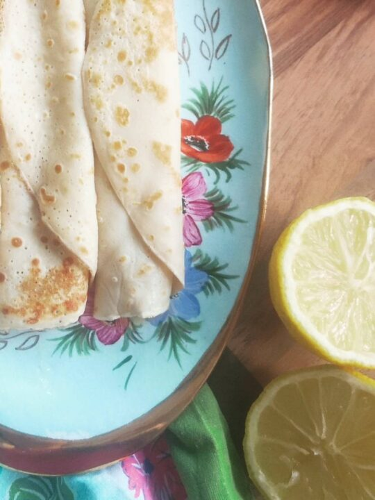 Pancakes crepes on vintage china