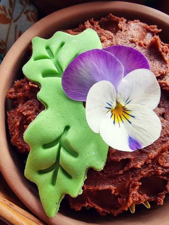 A cupcake with a real.ediblw.flower sits inside a plant pot with chocolate icing for soil